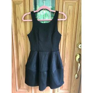 Black mesh fit and flare dress